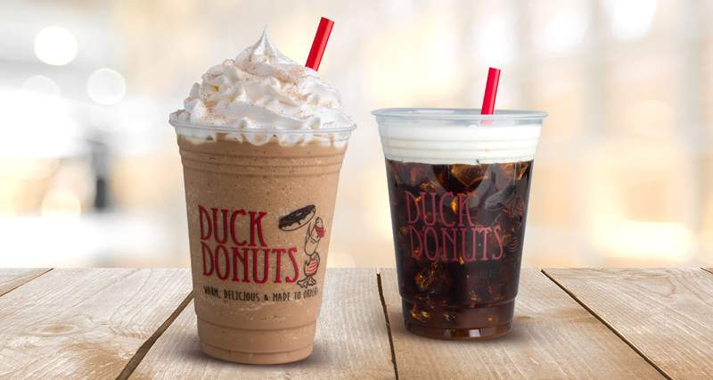 Become a Duck Donuts Rewards Member and get a free medium cold brew or frappe for National Coffee Day.