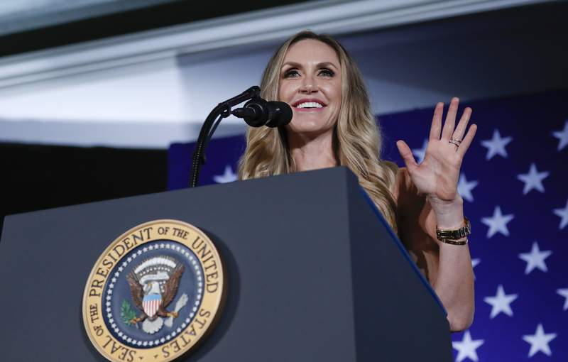 FILE - In this Aug. 31, 2018 file photo, Lara Trump, President Donald Trump's daughter-in-law, speaks at a Republican fundraiser at the Carmel Country Club in in Charlotte, N.C.  The former president's daughter-in-law, Lara Trump, is eyeing the North Carolina Senate seat being vacated by Republican Richard Burr. While many in the state are skeptical she will move forward, an entrance into the race would set up a crucial test of whether Donald Trump's popularity among Republicans, which remains massive more than a month after leaving office, can translate to others.   (AP Photo/Pablo Martinez Monsivais)