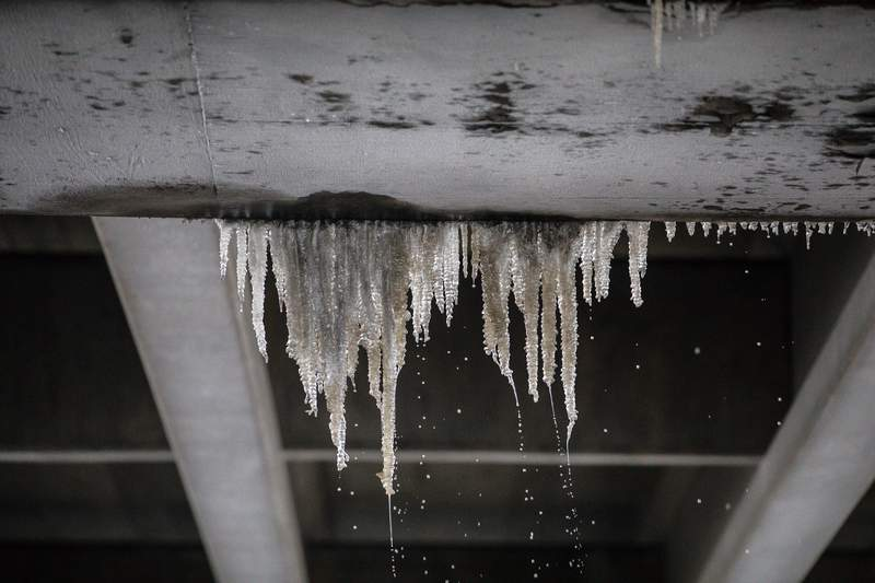 Ice underneath the bridge on I-35 in Austin, Texas on Feb. 17, 2021. Millions of Texans are still without water and electric as winter storms continue.
