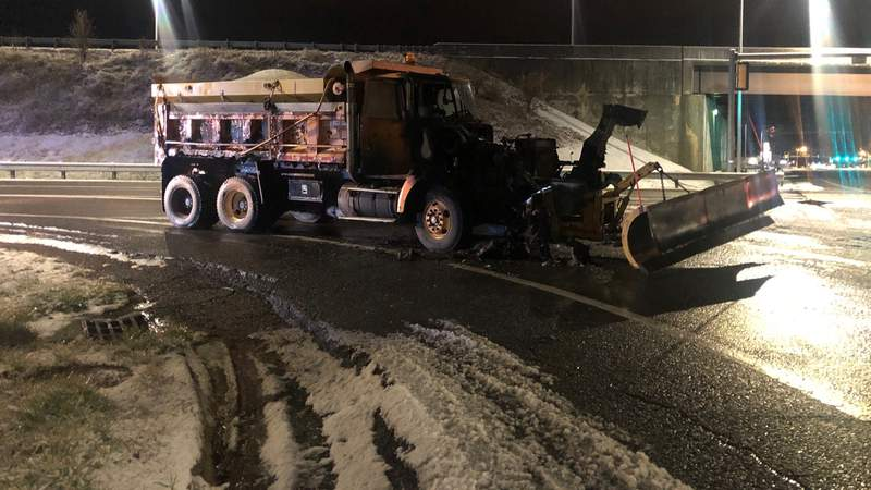No one was hurt after a salt spreader truck caught fire in Christiansburg on Wednesday night.