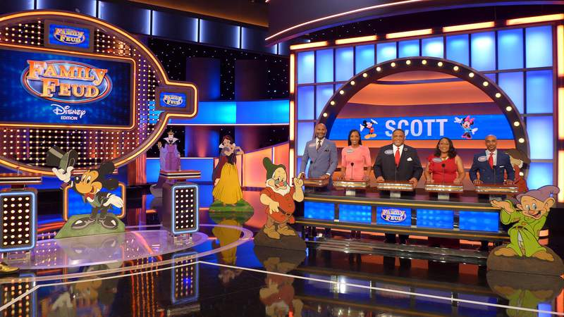 The Scott family on the set of Family Feud: Disney Edition