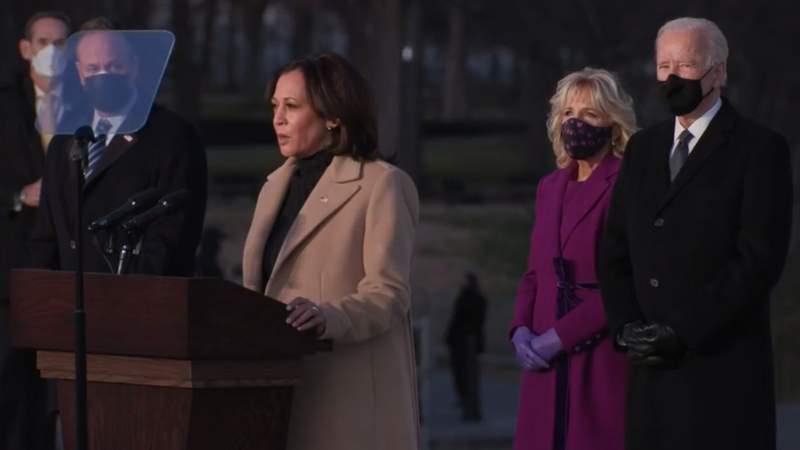 Vice President-elect Kamala Harris speaking at the Reflecting Pool in Washington, D.C. on Jan. 19, 2021.