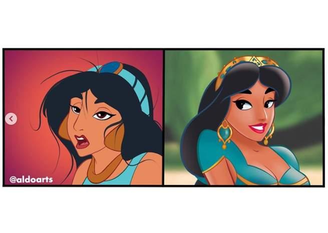 Princess Jasmine Zoom call -- audio only versus video call.