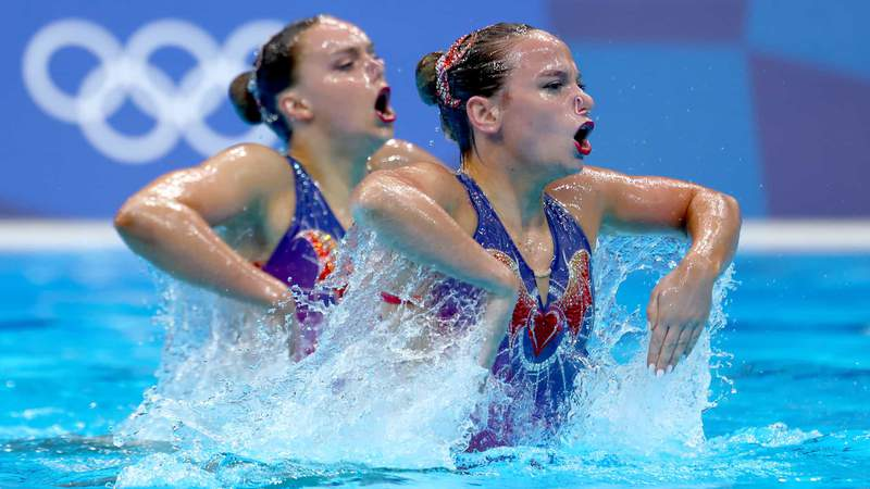 Kate Shortman and Isabelle Thorpe of Great Britain compete in the artistic swimming duet technical routine.