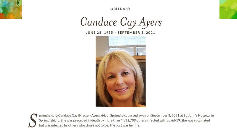 Candace Ayers' obituary, as seen on Sept. 17, 2021.