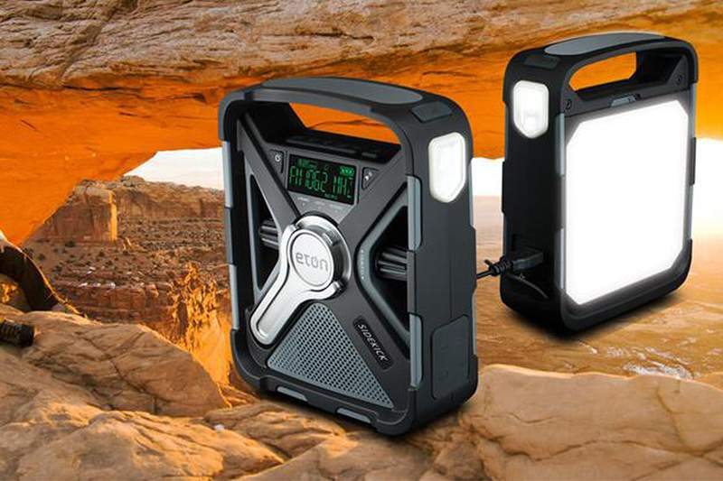 The Sidekick is a rugged, rechargeable, and reliable weather-alert radio that features solar-powered charging and Bluetooth technology.