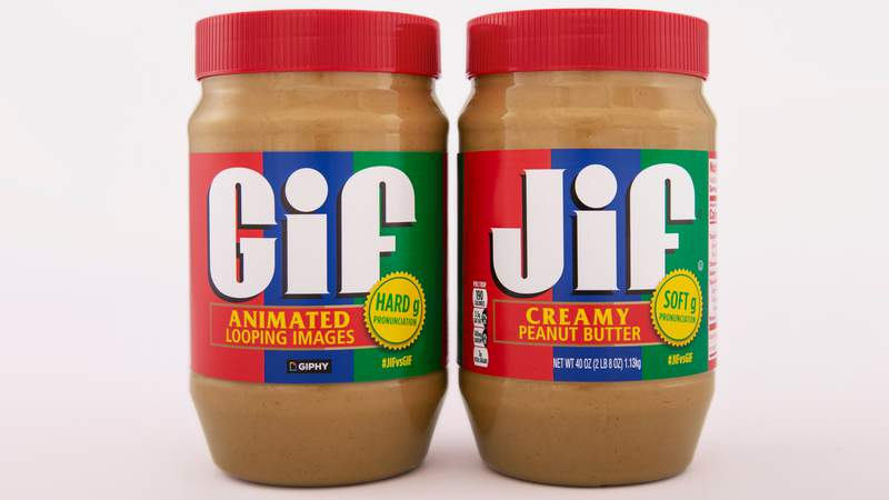 Jif is releasing a limited-edition jar of GIF peanut butter in a collaboration meant to be as smooth as the product itself. The limited edition jar is on the left. (Credit: J. M. SMUCKER COMPANY)