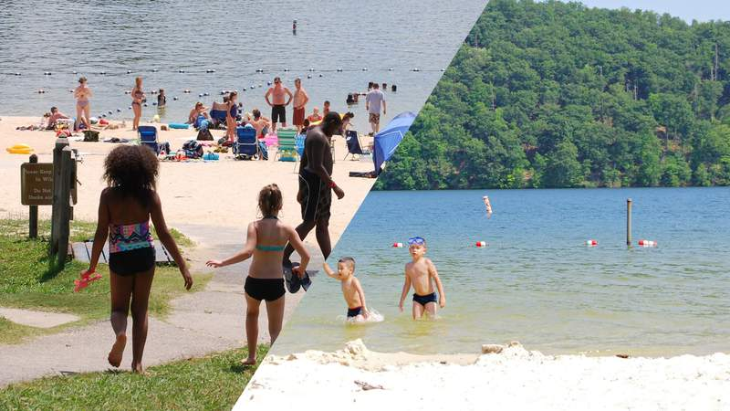 LEFT: Smith Mountain Lake beach goers RIGHT: Claytor Lake beach goers