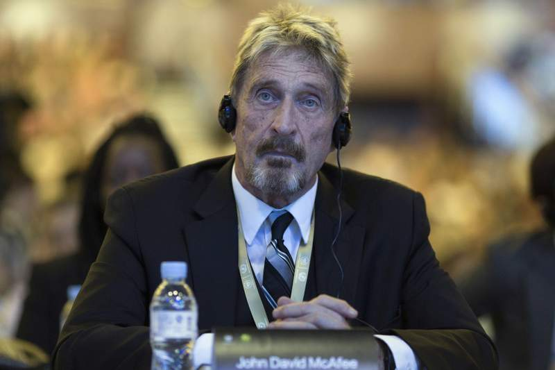 In this Tuesday, Aug. 16, 2016 file photo, founder of the first commercial anti-virus program that bore his name, John McAfee listens during the 4th China Internet Security Conference (ISC) in Beijing. (AP Photo/Ng Han Guan, File)
