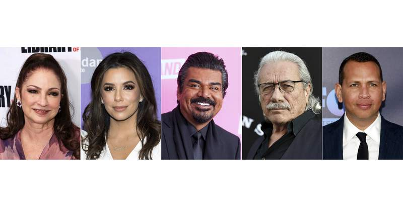 This combination photo shows, from left, musician Gloria Estefan, actress-producer Eva Longoria, comedian George Lopez, actor Edward James Olmos and former New York Yankees baseball player Alex Rodriguez who will take part in a month-long tribute to Hispanic achievements conducted by The Paley Center for Media. (AP Photo)