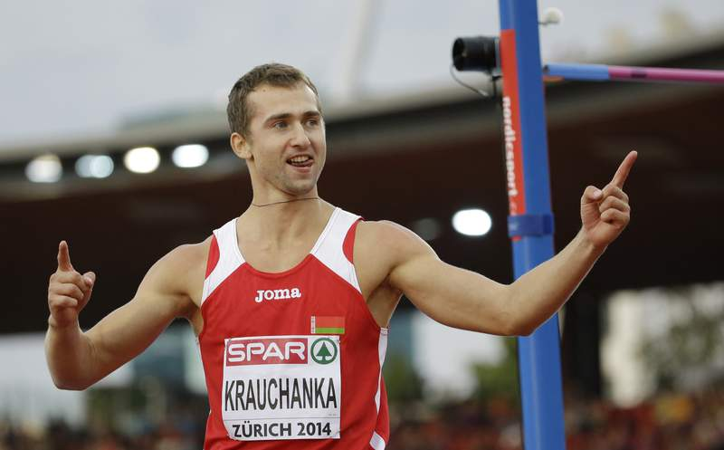 FILE - In this Tuesday, Aug. 12, 2014 file photo, Belarus' Andrei Krauchanka celebrates after an attempt in the high jump of the men's decathlon during the European Athletics Championships in Zurich, Switzerland. An Olympic silver medalist who is one of Belarus most lauded athletes says he is going on a 10-day hunger strike to support victims of political repression in his country. Krauchanka said Friday, April 30, 2021 that along with the hunger strike, he is selling his European indoor decathlon gold medal from 2011 to help the families of political prisoners. (AP Photo/Matt Dunham, file)