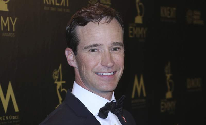 FILE - Mike Richards poses in the press room at the 45th annual Daytime Emmy Awards on April 29, 2018, in Pasadena, Calif. The very brief Richards era on Jeopardy! began on Monday, Sept. 13, 2021, as the beleaguered game show dealt with the embarrassment of opening its 38th season with a host that its fans already know is toast. Richards stepped down as Alex Trebek's replacement on Aug. 20, and was ousted as the show's executive producer a week and a half later, after it was discovered podcasts he had made in 2013 and 2014 contained demeaning remarks about women and minorities. (Photo by Willy Sanjuan/Invision/AP, File)