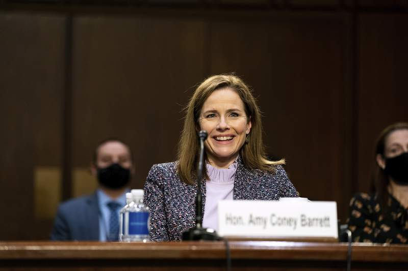 Supreme Court nominee Amy Coney Barrett testifies during the third day of her confirmation hearings before the Senate Judiciary Committee on Capitol Hill in Washington, Wednesday, Oct. 14, 2020. (Anna Moneymaker/The New York Times via AP, Pool)