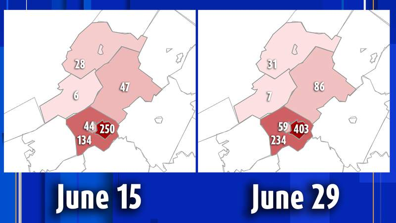 Breakdown of coronavirus cases reported between June 15 and June 19 in the Roanoke City and Alleghany health districts