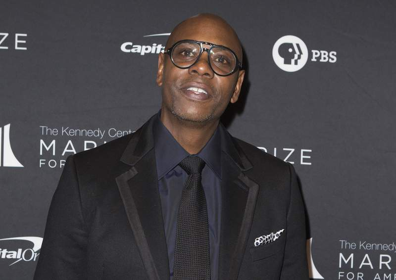 FILE - Dave Chappelle arrives at the 22nd Annual Mark Twain Prize for American Humor on Oct. 27, 2019, in Washington, D.C. A top Netflix executive said Dave Chappelle's special The Closer doesn't cross the line on hate and will remain on the streaming service despite fallout over the comedian's remarks about the trans community. (Photo by Owen Sweeney/Invision/AP, File)
