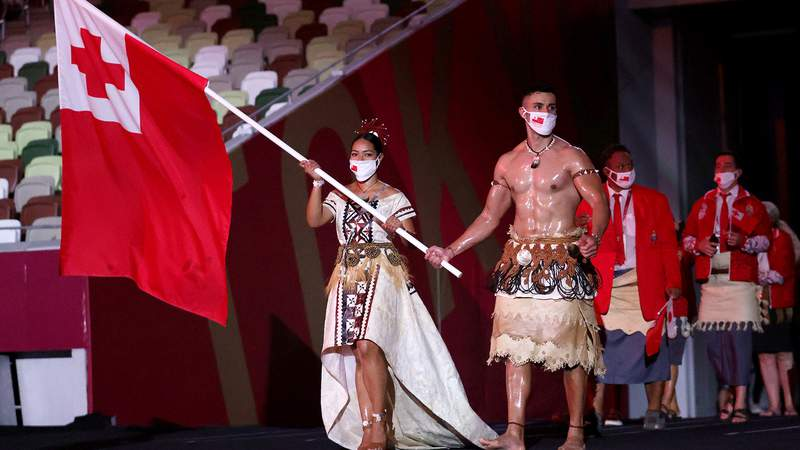 Pita Taufatofua led Tonga during the Parade of Nations at the Opening Ceremony.