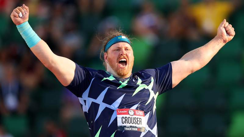 EUGENE, OREGON - JUNE 18: Ryan Crouser competes in the Men's Shot Put final, throwing for a world record of 23.37 meters during day one of the 2020 U.S. Olympic Track & Field Team Trials at Hayward Field on June 18, 2021 in Eugene, Oregon.