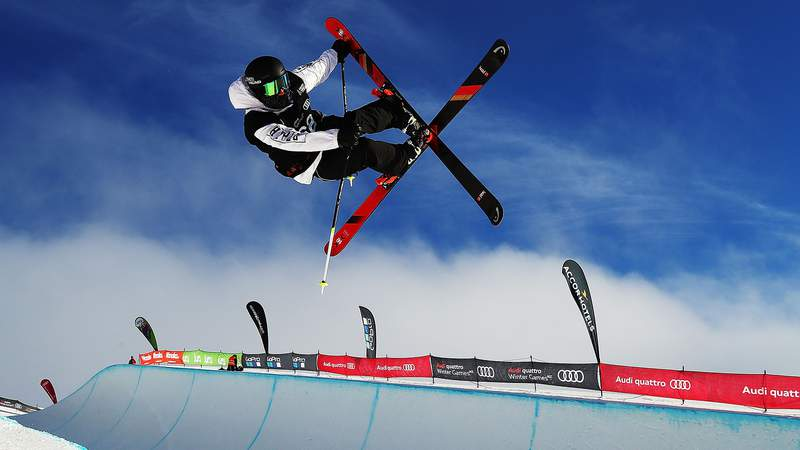 A freeskier competes during the Winter Games NZ FIS Freestyle Skiing World Cup Halfpipe Finals at Cardrona Alpine Resort on Sept. 1, 2017, in Cardrona, New Zealand.