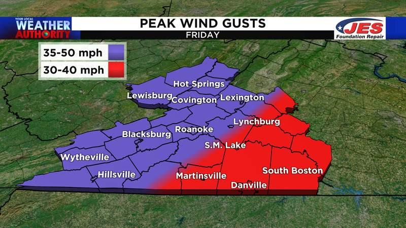 Peak wind gusts - Friday, 4/30/2021
