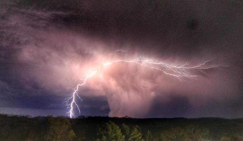 Lightning and hail core of a storm moving along the Rockbridge-Augusta County line Tuesday evening (Sandy Berry)