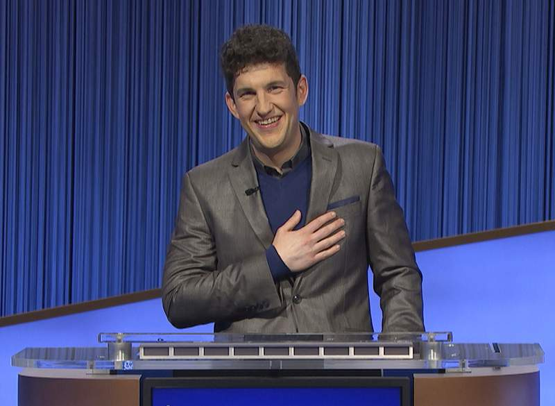 """This photo provided by Jeopardy Productions Inc. shows """"Jeopardy!"""" contestant Matt Amodio during a taping of the popular game show. Amodios historic run on Jeopardy! ended on Mondays show, leaving the Yale doctoral student with 38 wins and more than $1.5 million in prize money. (Jeopardy Productions Inc. via AP)"""