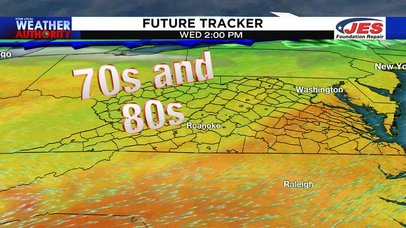 High temperature range for Wednesday afternoon