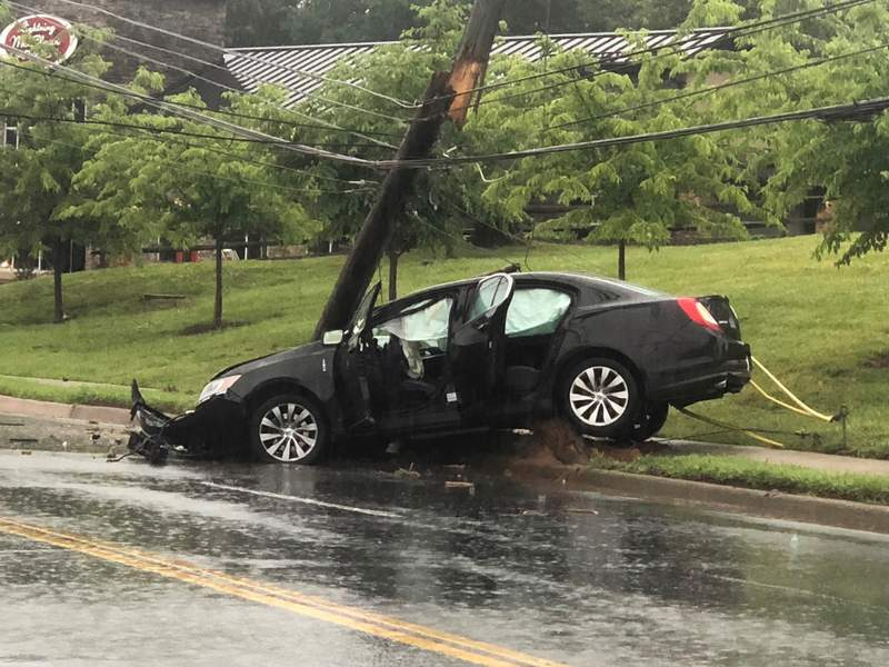 Old Forest Road closed after power pole fell on car in Lynchburg