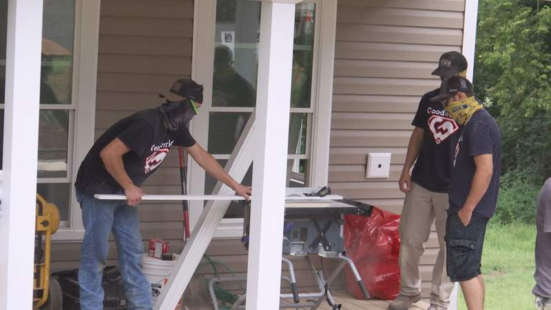 """JES Volunteers continuing to work at the """"Home for Good"""" site."""