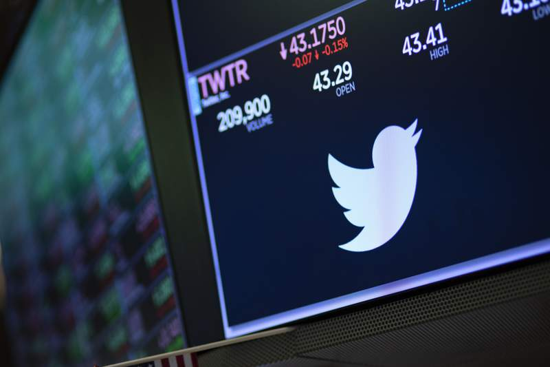 FILE - In this Sept. 18, 2019, file photo a screen shows the price of Twitter stock at the New York Stock Exchange. Twitter said Thursday, Sept. 10, 2020,  that starting next week it will label or remove misleading claims that try to undermine public confidence in elections. (AP Photo/Mark Lennihan, File)