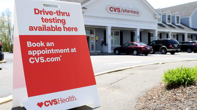 A sign promoting drive-thru coronavirus (COVID-19) tests at CVS Pharmacy on May 15, 2020 in Bridgewater, Massachusetts.(Photo by Maddie Meyer/Getty Images)