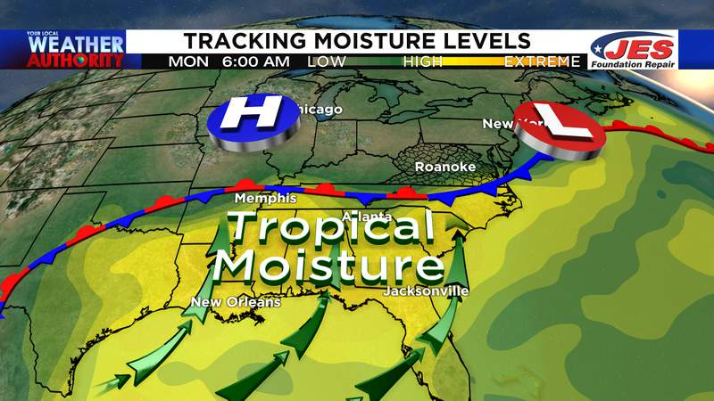 Stalled front nearby Monday and Tuesday