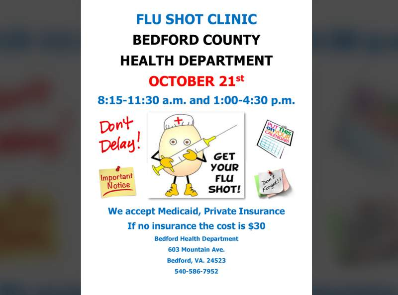 The Bedford County Health Department is offering flu shots on Wednesday, Oct. 21.