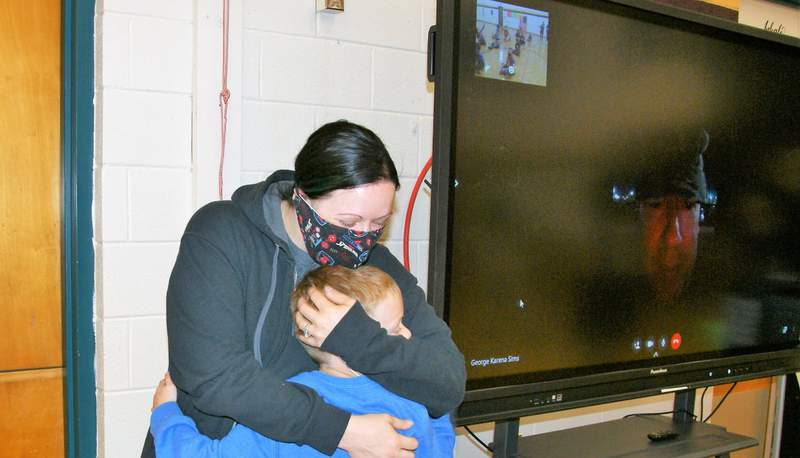 A Franklin County student was surprised with a virtual visit from his dad who is deployed with the U.S. Army in Kuwait