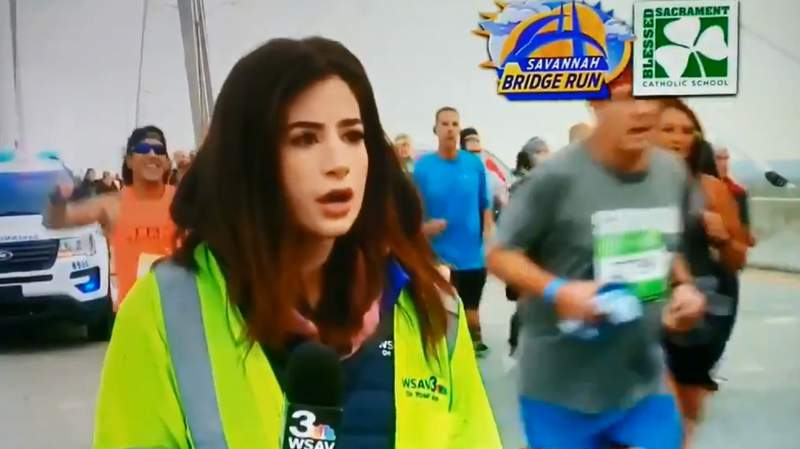 Georgia news reporter Alexandrea Bozarjian was covering a race on Saturday when a runner groped her on live television.