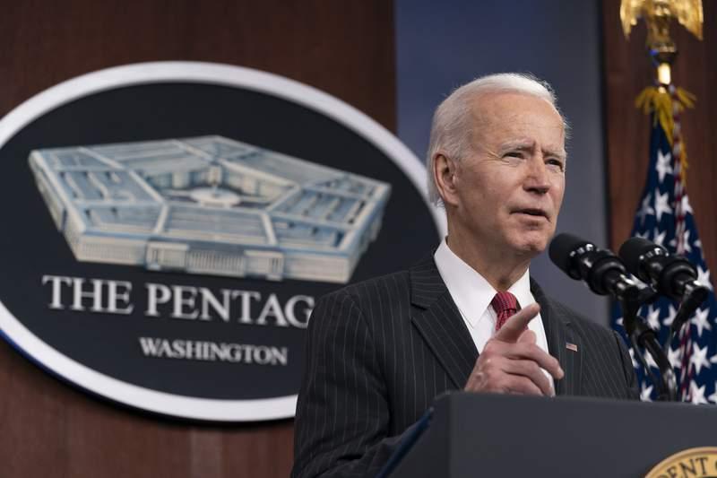President Joe Biden speaks at the Pentagon, Wednesday, Feb. 10, 2021, in Washington. (AP Photo/Alex Brandon, Pool)