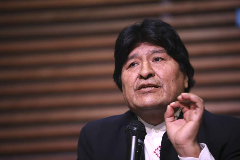 FILE - In this Feb. 21, 2020 file photo, Bolivia's ousted, former President Evo Morales gives a press conference regarding the rejection of his plan to run for Senator in Buenos Aires, where he is living, in Argentina. On Monday, Sept. 7, 2020, a Bolivian court blocked Morales from seeking a senate seat in the countrys October elections, arguing that the ex-leader, living in Argentina, doesnt meet residency requirements. (AP Photo/Natacha Pisarenko, File)