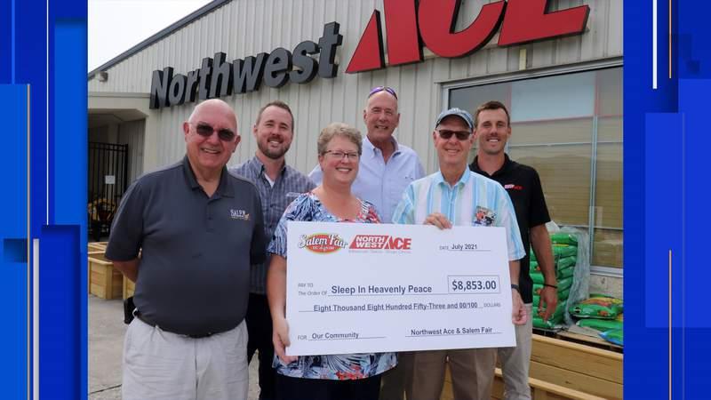 Northwest Ace Hardware donates $9,000 to Sleep in Heavenly Peace in Salem Fair partnership.