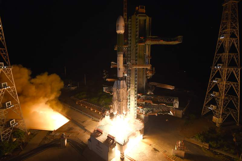 This photograph released by the Indian Space Research Organization (ISRO) shows Geosynchronous Satellite Launch Vehicle (GSLV-F10) carrying EOS-03, an Earth Observation satellite, taking off from Satish Dhawan Space Center in Sriharikota, India, Thursday, Aug. 12, 2021. An Indian rocket failed in its attempt Thursday to put a satellite into orbit to provide real-time images used to monitor cyclones and other potential natural disasters. (Indian Space Research Organization via AP)