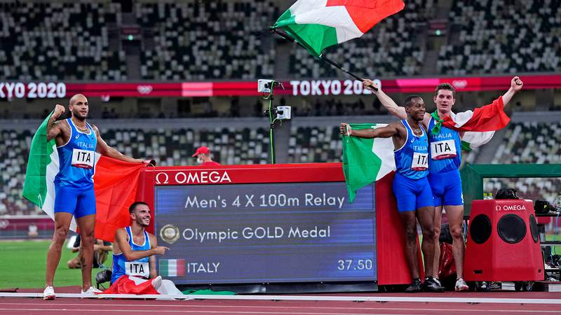 The Italy men's 4x100 relay team stunned the world by winning gold by just .01 seconds at the Tokyo Games.