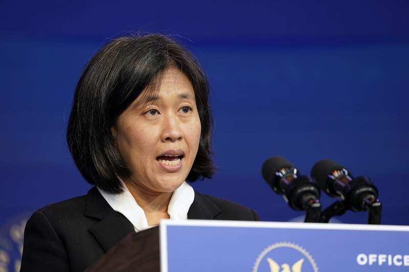FILE - In this Dec. 11, 2020, file photo Katherine Tai, the Biden administration's choice totake overas the U.S. trade representative, speaks during an event at The Queen theater in Wilmington, Del. President Joe Bidens pick to be the top U.S. trade envoy is promising to work with Americas allies to combat Chinas aggressive trade policies. In a written testimony for her confirmation hearing Thursday, Feb. 25, 2021, before the Senate Finance Committee, Tai, Biden's choice for U.S. trade representative, said she would prioritize rebuilding our international alliances and partnerships, and re-engaging with international institutions'' to present Beijing with a united front of U.S. allies.'' (AP Photo/Susan Walsh, File)