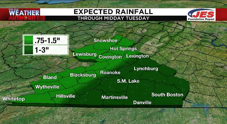 Expected rainfall through midday Tuesday