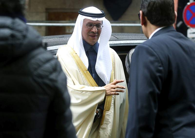FILE - In this March 6, 2020 file photo, Prince Abdulaziz bin Salman Al-Saud, Minister of Energy of Saudi Arabia, arrives for a meeting of the Organization of the Petroleum Exporting Countries, OPEC, and non OPEC members at OPEC headquarters in Vienna, Austria. The OPEC oil cartel led by Saudi Arabia and other allied producing countries resumed talks on Monday, July 5, 2021, amid a standoff with the United Arab Emirates over how much to raise production levels with demand still hampered by threats from new variants of the coronavirus. (AP Photo/Ronald Zak, File)