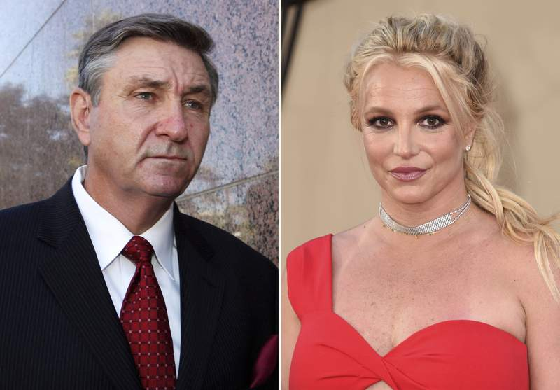 """In this combination photo, Jamie Spears, father of singer Britney Spears, leaves the Stanley Mosk Courthouse on Oct. 24, 2012, in Los Angeles, left, and Britney Spears arrives at the premiere of """"Once Upon a Time in Hollywood"""" on July 22, 2019, in Los Angeles. Britney Spears said in a court filing Wednesday that she agrees with her father that the conservatorship that has controlled her life and money since 2008 should be terminated. The filing in Los Angeles Superior Court from the singer's attorney Mathew Rosen says she fully consents to expeditiously ending the conservatorship. (AP Photo)"""