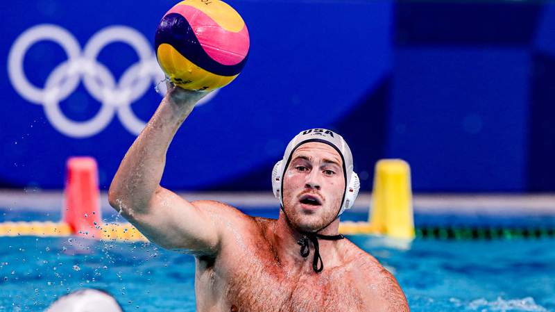 Team USA plays water polo at the 2020 Tokyo Olympics.