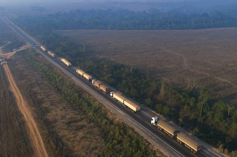 Trucks sit idle on highway BR-163 as it is blocked by Kayapo Indigenous near Novo Progresso, Para state, Brazil, Monday, Aug. 17, 2020. Protesters blocked the road to pressure Brazilian President Jair Bolsonaro to better shield them from COVID-19, to extend damages payments for road construction near their land, and to consult them on a proposed cargo railway. (AP Photo/Andre Penner)