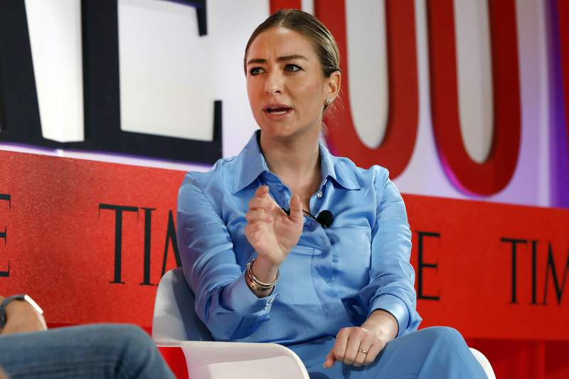 FILE - In this Tuesday, April 23, 2019 file photo, Founder and CEO of Bumble, Whitney Wolfe Herd, speaks during the TIME 100 Summit, in New York. The Texas law, which took effect Tuesday, Aug. 31, 2021, after the Supreme Court denied an emergency appeal from abortion providers, bans abortions once medical professionals can detect cardiac activity, usually around six weeks and often before women know theyre pregnant. Austin-based Bumble, which is led by CEO Whitney Wolfe, spoke out against the law on social media. Bumble is women-founded and women-led, and from day one weve stood up for the most vulnerable. Well keep fighting against regressive laws like #SB8, Bumble said on Twitter. (AP Photo/Richard Drew, File)