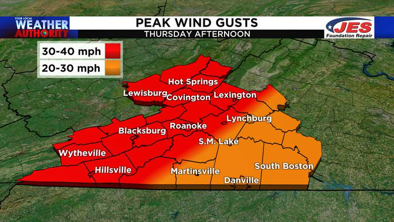 Peak wind gusts - Thursday afternoon, 4/15/2021