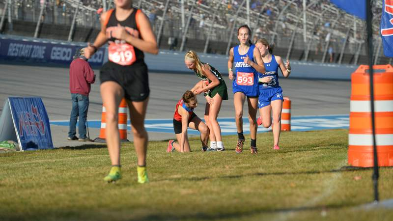 Maggie Duba helps up Sarah Storey near the finish line of the Division 2 state cross country finals in Brooklyn, Michigan on Nov. 6/Dave McCauley