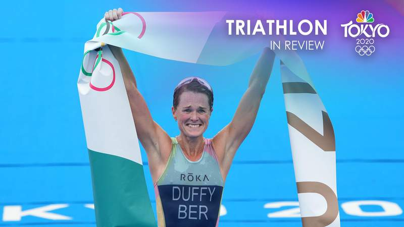 Flora Duffy celebrates Bermuda's first-ever Olympic gold medal after winning the women's triathlon.