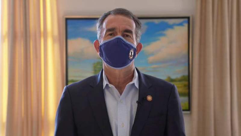 Gov. Ralph Northam announcing new coronavirus restrictions in a video posted on Nov. 13, 2020.